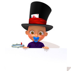 Baby Jake magician 3d illustration