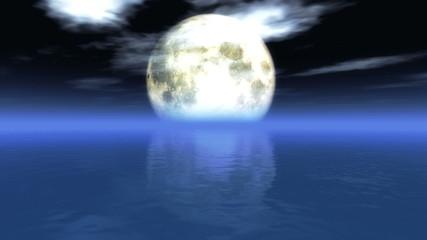 Big moon in ocean 4k
