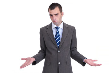 Young  businessman in a gray suit rejecting the responsibility,