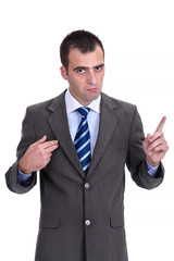 Young  businessman in a gray suit rejecting the responsibility a