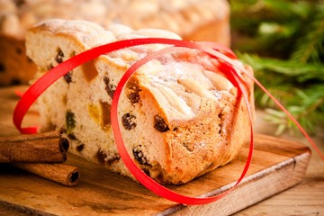 piece of Dundee cake with red ribbon