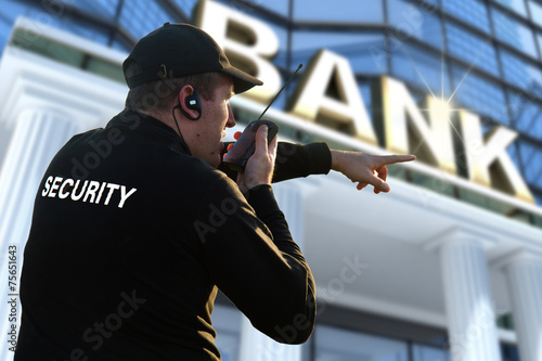 Leinwanddruck Bild bank security officer