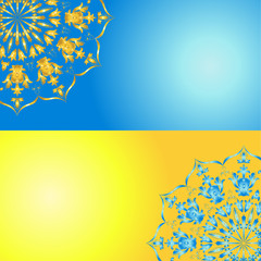Blue-yellow ornamented cards