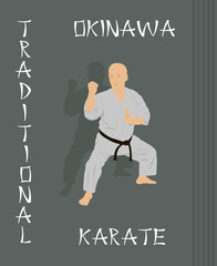 The man is engaged in karate on a green background.