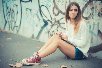 young beautiful woman girl autumn