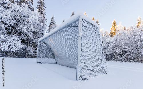 Soccer Goal Covered in Snow - 75652818