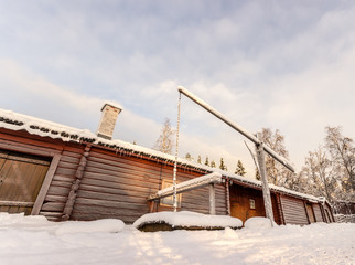 Swedish Taditional Barn in Winter