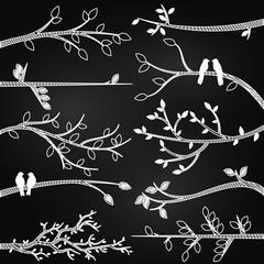 Chalkboard Style Tree Branch Silhouette Vectors