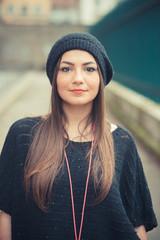 young beautiful brunette woman girl