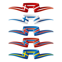 Abstract color North Europe flags ribbon