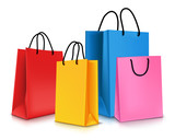 Fototapety Set of Colorful Empty Shopping Bags Isolated