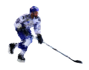 Hockey player. Vector drawing created from triangles