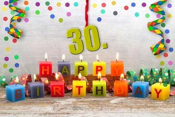 30. Geburtstag - Partykerzen