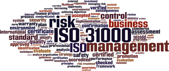 ISO 31000 word cloud concept. Vector illustration