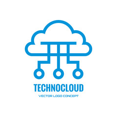 Technocloud - vector logo concept illustration. Cloud logo.