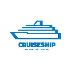 Cruise ship - vector logo illustration. Vector logo template.