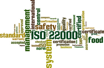 ISO 22000 word cloud concept. Vector illustration