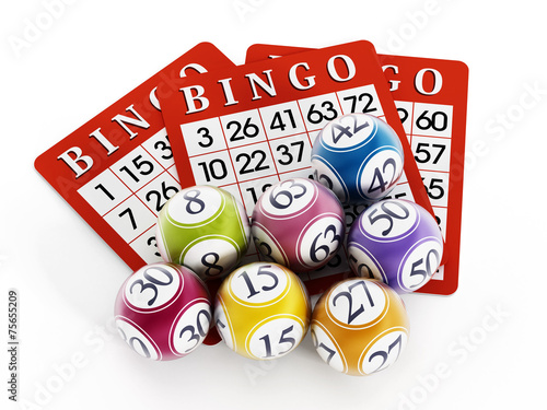 Bingo balls and cards - 75655209