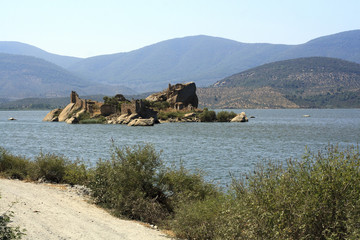 early morning with the ruins in the back ground. Bafa Lake, Turk