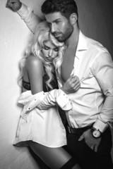 Black and white photo of romantic couple