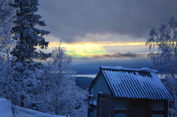 Winter sunset in the valley