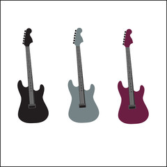 Colorful Guitars on the White Background