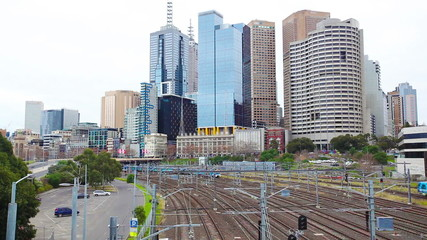 Trains departing and arriving at the Melbourne city CBD