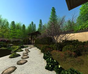 Japanese garden, spring time