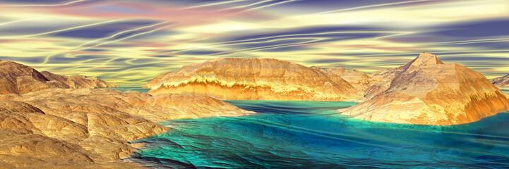3D rendered fantasy alien planet. Rocks and lake. Panorama