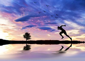 el corredor en el lago