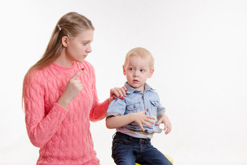 Mom unhappy child's behavior