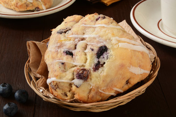 Blueberry scones in a basket