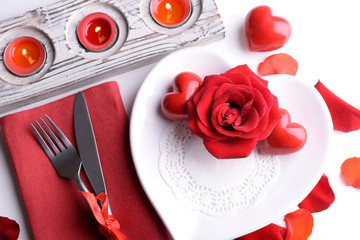 Festive table setting for Valentines Day on table background