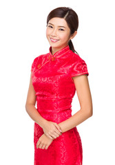 Woman with red cheongsam