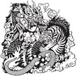 dragon and tiger fight black white