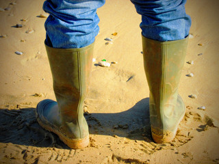Fisherman wearing gumboots