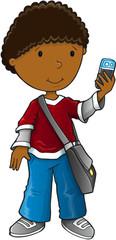 Boy smart phone vector illustration art