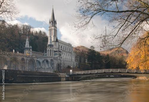 Sanctuaries of Lourdes from Gave de Pau River Poster