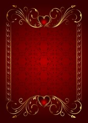 floral card with hearts for Valentine's day