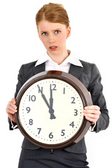 Business woman holding a clock.