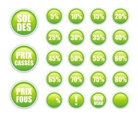 soldes stickers verts