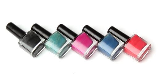 Group of nail polishes isolated on white background