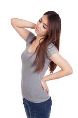 Young Asian woman got back pain