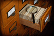 Library Card Catalog Drawer Search Concept - 75661672