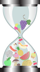 hourglass with food