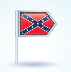 map pointer flag of Confederate Rebel