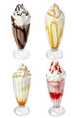 milk cocktail ice cream isolated on white background