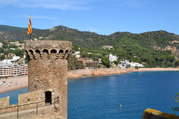 View of the city of Tossa de Mar in Girona, Spain