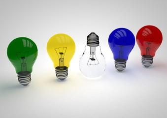 Farbige Glühbirne