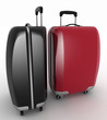 Suitcases for travel. 3d illustration over white